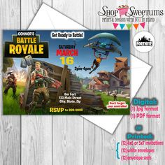 Fortnite invitation, digital or printed