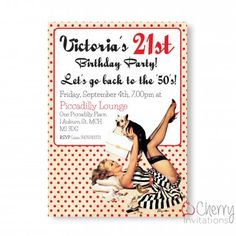 Vintage Pin Up Girl Themed Single Sided Personalised Birthday Invitations - From as little as £0.41 per card - Including free envelopes and delivery on all orders!
