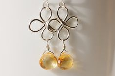 Argentium Sterling Silver Golden Yellow Citrine - Luck of the Irish Clover Earrings, by PrincessTingTing, $27.00