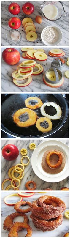 Cinnamon apple rings - Pampered Chef Apple tools make quick work! - A quick and delicious snack of sliced apple rings dipped in a yogurt batter, fried, and topped with cinnamon-sugar. Just Desserts, Delicious Desserts, Yummy Food, Tasty, Apple Desserts, Sweet Recipes, Snack Recipes, Dessert Recipes, Cooking Recipes