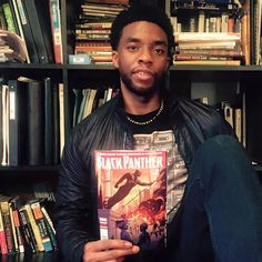 Chadwick Boseman doing a little research on his T'challa AKA Black Panther role.