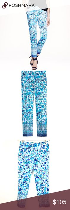 J.Crew Size 2 Pants Cropped Blue Flower Pocket New Shantung Collection Silk Blend Party Floral Print Tapered Skinny J. Crew Pants Ankle & Cropped