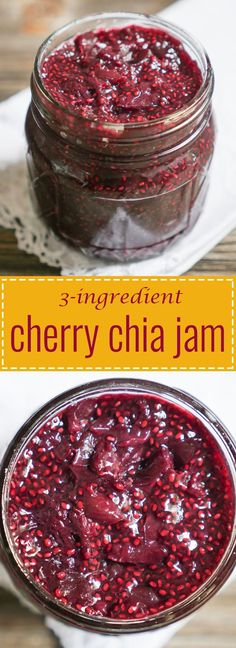 This Cherry Chia Jam is made with just 3-ingredients!! Recipe on myheartbeets.com