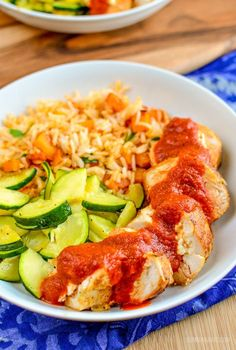 Delicious Feta Stuffed Chicken with Roasted Red Pepper Sauce served with Roasted Butternut Squash Rice, it makes a perfect family meal.