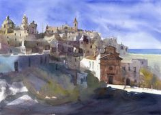"Watercolor video tutorial ""Ostuni Panorama"" on Behance Watercolor Video, Watercolor Art Paintings, Watercolour Tutorials, Watercolors, Oil Paintings, Bird Artists, Watercolor Architecture, Summer Painting, Healthy Work Snacks"
