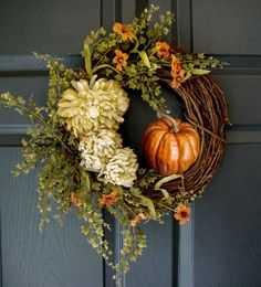 Fall Tea Stained Mum Wreath Maidenhair Fern and Pumpkin - Fall Door Wreaths - Autumn Rustic Wreath - Harvest Wreath - Pumpkin Wreath  Wreath featuring artificial 'tea stained' mums (vintage look) , maidenhair fern, and faux pumpkin, adorned with small floral accents on grapevine. A front door wreath that friends and neighbors will admire!