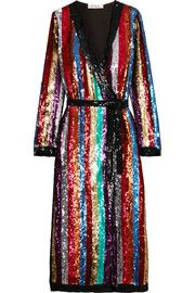 Grace striped sequined georgette wrap dress