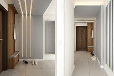Aranżacja przedpokoju wystrój nowoczesny, minimalistyczny w kolorach biel, szary - projekt wnętrza #9404965, Homplex