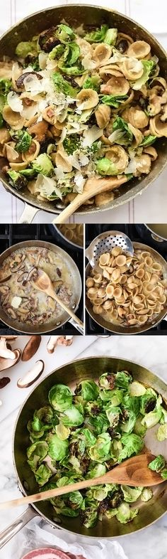 Whole Wheat Carbonara Pasta With Charred Brussels Sprouts and Mushrooms is packed with whole foods and great flavors | foodiecrush.com