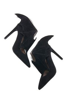 All Bat and More Heel by Jeffrey Campbell - High, Leather, Suede, Black, Solid, Party, Halloween, Quirky