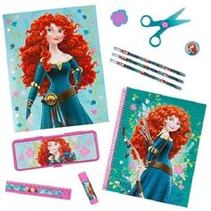 NEW DISNEY STORE BRAVE MERIDA ART SCHOOL SUPPLY KIT NOTEBOOK PENCILS FOLDER ETC