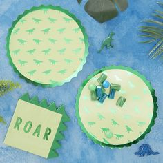Dinosaur Green Foiled Paper Party Plates by Ginger Ray, the perfect gift for Explore more unique gifts in our curated marketplace. Dinosaur Party Decorations, Dinosaur Party Supplies, Dinosaur Birthday Party, 1st Birthday Parties, Third Birthday, Birthday Ideas, Gold Birthday, Happy Birthday, Party Napkins