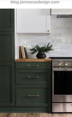 Riverside Retreat Kitchen Reveal – Home Renovation Green Kitchen Cabinets, Kitchen Redo, Home Decor Kitchen, Kitchen Interior, New Kitchen, Home Kitchens, Kitchen Dining, Interior Modern, Kitchen Ideas