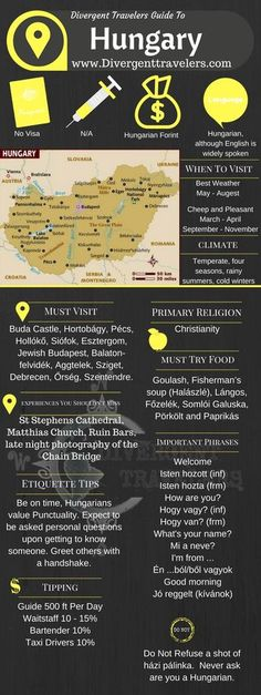Divergent Travelers Travel Guide, With Tips And Hints To Hungary. This is your ultimate travel cheat sheet to the Hungary. Click to see our full Hungary Travel Guide from the Divergent Travelers Adventure Travel Blog and also read about all of the different adventures you can have in Hungary at http://www.divergenttravelers.com/destinations/hungary/