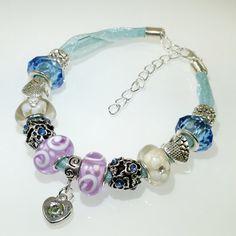 European Charm Bead Bracelet Handmade Forget Me Not by BekisBeads