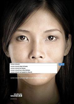 Reclame van UN Women die opkomt voor vrouwenrechten