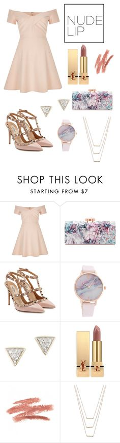 """""""Nude lips"""" by jstahl21 ❤ liked on Polyvore featuring beauty, River Island, Ted Baker, Valentino, Adina Reyter, Yves Saint Laurent and ERTH"""