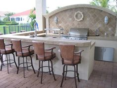 Outdoor Grill And Bar Design Plans Outdoor Fieldstone Kitchen Featuring Raised Stone Bar Counter Grill Backyard Paradise Pinterest