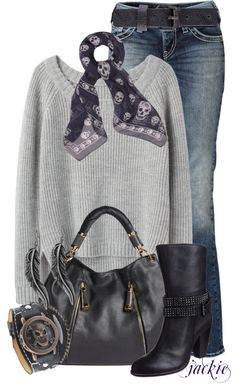 """""""Blue, Gray and Skulls"""" by jackie22 on Polyvore"""