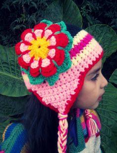 gorro tejido al crochet con flor...