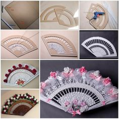 DIY Decorative Fan from Old Newspaper and Cardboard. Clever addition to choices for Bridesmaids Newspaper Crafts, Old Newspaper, Diy Cadeau Noel, Craft Projects, Projects To Try, Fan Decoration, Paper Weaving, Diy Fan, Paper Basket