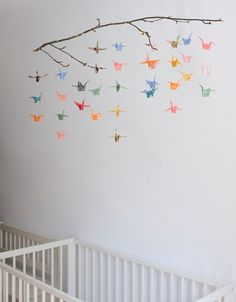 Paper Crane Mobile Origami Paper by WildChildShop on Etsy, $35.00