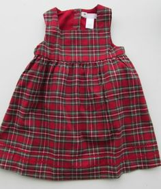 NWT JANIE AND JACK Baby Girl Plaid Red Jumper First Christmas Line FREE SHIP New