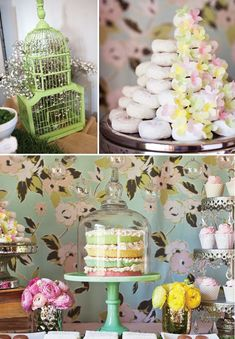 A donut tree with cascading flowers, color-coordinated desserts, and whimsical birdcage accents