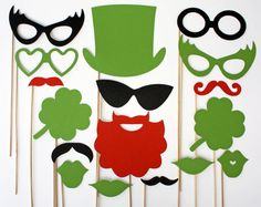 St. Patrick's Day Photo Booth Props - 17 Piece on Etsy or get images off google & make own!