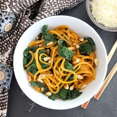 Butternut squash noodles with brown butter and kale - Snixy Kitchen