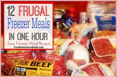 12 Frugal Freezer Meals in One Hour including Easy Freezer Meal Recipes - Freez. - 12 Frugal Freezer Meals in One Hour including Easy Freezer Meal Recipes – Freez… – - Budget Freezer Meals, Make Ahead Freezer Meals, Dump Meals, Freezer Cooking, Frugal Meals, Freezer Recipes, Batch Cooking, Freezable Meals, Bulk Cooking
