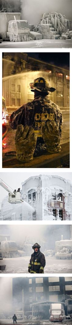 Resulting ice sculptures after firefighters extinguish a fire in sub-zero temps - Jan 2013