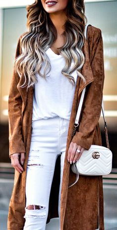 #winter #outfits / Brown Coat / White Cami / White Ripped Skinny Jeans