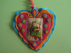 felt photo valentine ornament with baby photo