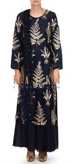 Buy this Navy blue palazzo suit in zari butti only on Kalki