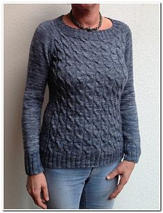 Shifting is a seamless pullover knit from the top down, with simple cables on the front.