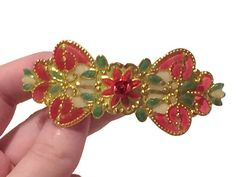 Red Green Enamel Golden Holiday Barrette by WishingProducts