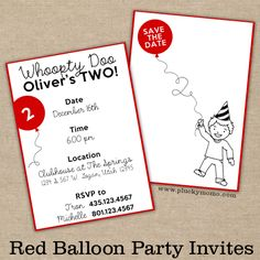 Red Balloon Party Invite. Illustration and Graphic Design by Plucky Momo.