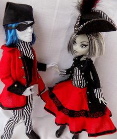 Pirate couple red and stripes - clothes for MH and EAH doll