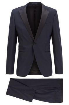BOSS Rendal2/Wilden2 Costume Extra Slim Fit en sergé de laine vierge à motif Costume Homme Hugo Boss, Slim, Costumes, Blazer, Jackets, Rose, Fashion, Mens Shoes Uk, Men Styles
