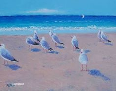 Image result for seabirds on beach, art