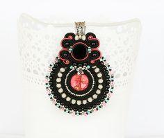 Black beaded pendant black pink necklace black by pUkke on Etsy