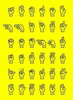 Sign Language Alphabet A New Display Typeface for hand sign language alphabet. Done in June 2013 Alphabet Code, Nato Alphabet, Alphabet Symbols, Phonetic Alphabet, Braille Alphabet, Typography Alphabet, Alphabet Art, Spanish Alphabet, Graffiti Alphabet