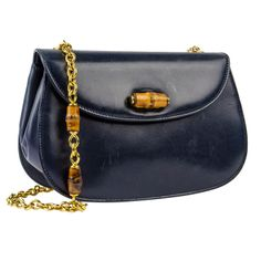 Gucci Vintage Navy Blue Lambskin Leather Bamboo Crossbody Bag | From a collection of rare vintage handbags and purses at http://www.1stdibs.com/fashion/accessories/handbags-purses/