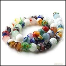 3 strings/lot, Assorted Colorful Lampwork Glass Loose Beads Spacer Millefiori Glass Beads 8mm Dia. 111442(China (Mainland))