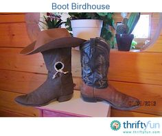 Use an old cowboy boot to repurpose as either an indoor or outdoor birdhouse. It is set up with wooden shelves ready for a nest. Old Cowboy Boots, Old Boots, Rustic Crafts, Handmade Crafts, Diy Craft Projects, Fun Crafts, Craft Ideas, Bird Houses Diy, Cute Bedroom Ideas