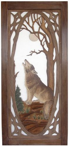 """Rustic Carved Screen Door with Wolf Howling Item #SD00102 36""""W x 80""""T x 1""""D Single Sided Carving - $1195 Add $495 for Double Sided Carving."""