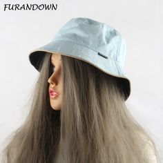 FURANDOWN 2017 Plain Bucket Hats Women Men Two sides Wear 100% Cotton Fishing  Sun Cap c2e6e020cd38