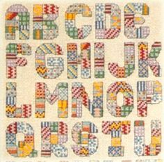 Alphabets Cross Stitch Patterns Mosaic Rainbow Crazy Quilt Shells +
