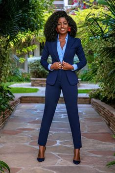 Fitted Blazer + Button-Down + Contrast Waist Pants – StylePantry Business Professional Outfits, Business Casual Attire, Business Outfits, Corporate Attire Women, Autumn Fashion Women Fall Outfits, Black Women Fashion, Womens Fashion, Classy Work Outfits, Office Outfits
